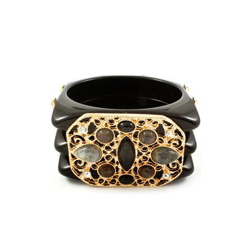 Embellished Black and Gold Chunky  Bracelet