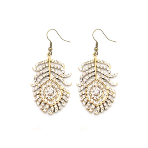 Diamante Feather Earrings