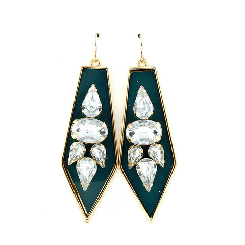 Green Spear Gemstone Earrings