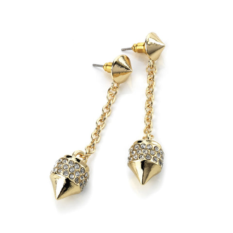 Gold Pave Cone Drop Earrings
