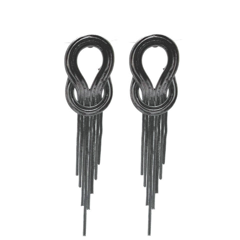Gunmetal Loop Tassel Earrings