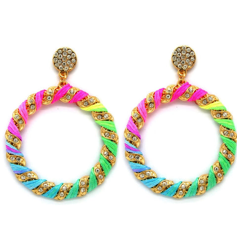 Neon Sparkly Hoop Earrings