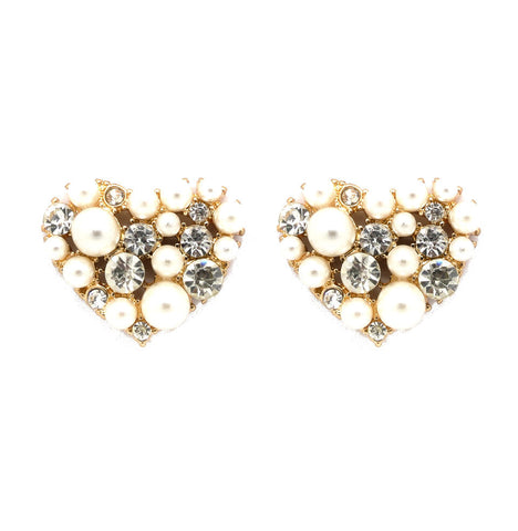 Pearl and Crystal Heart Stud Earrings