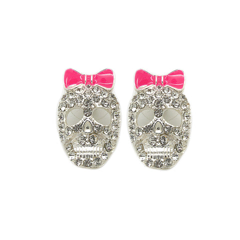 Pink Bow Skull Earrings