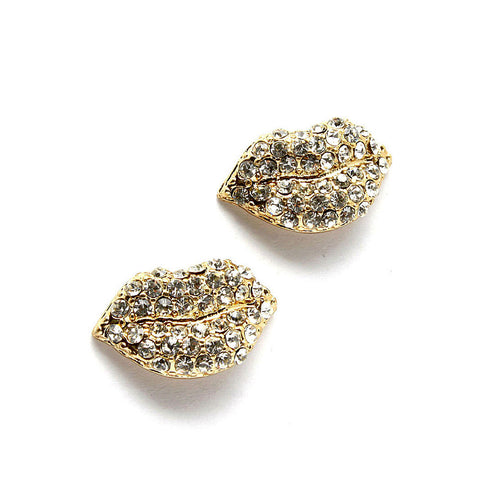 Mini Rhinestone Lips Studs
