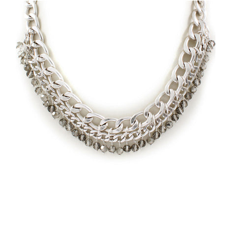 Curb Chain Bead Necklace