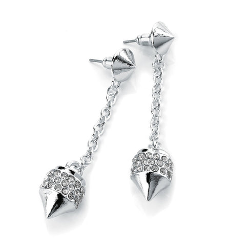 Silver Pave Cone Drop Earrings