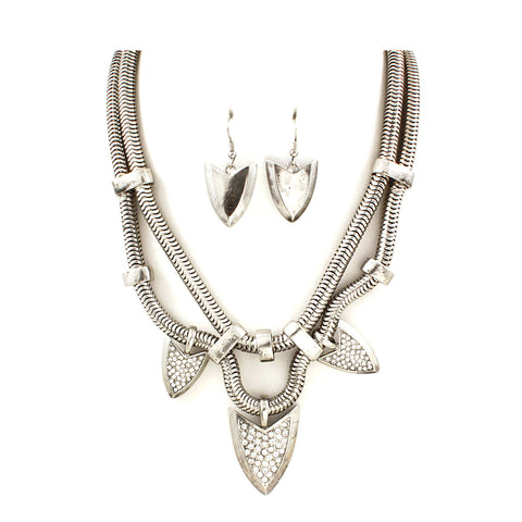 Silver Arrow Necklace Set