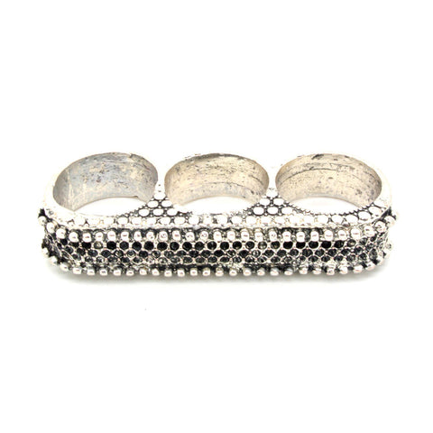 Silver Triple Finger Texture Ring