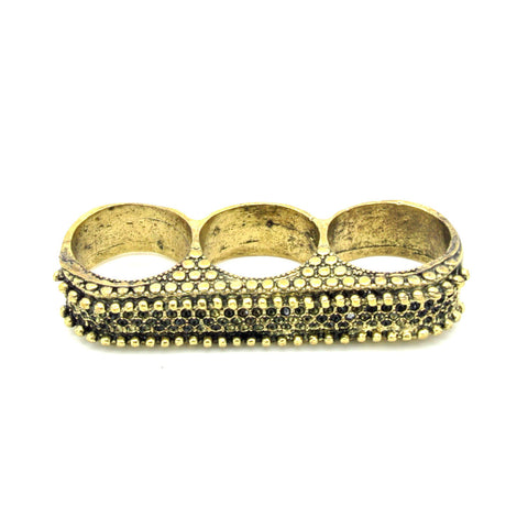 Gold Triple Finger Texture Ring