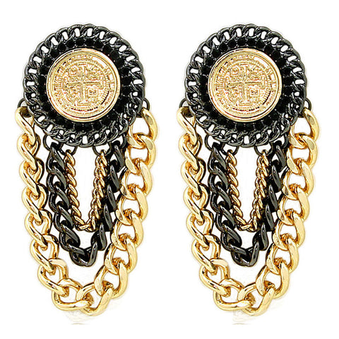 Gold and Black Urban Glam Coin Chain Earrings As Seen On Femme