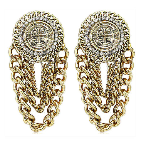 Gold Urban Glam Coin Chain Earrings