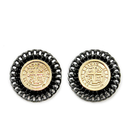 Black and Gold Urban Glam Coin Earrings