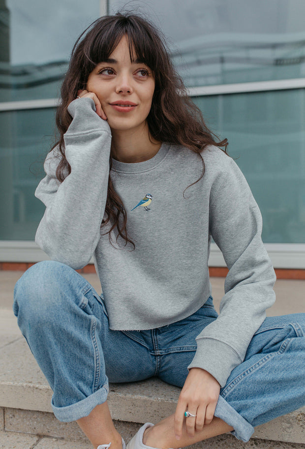 blue tit womens cropped sweatshirt