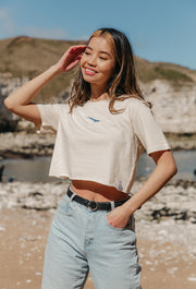 blue whale womens cropped t-shirt