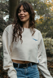 blue whale womens cropped sweatshirt