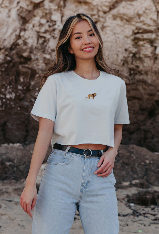 lion womens cropped t-shirt