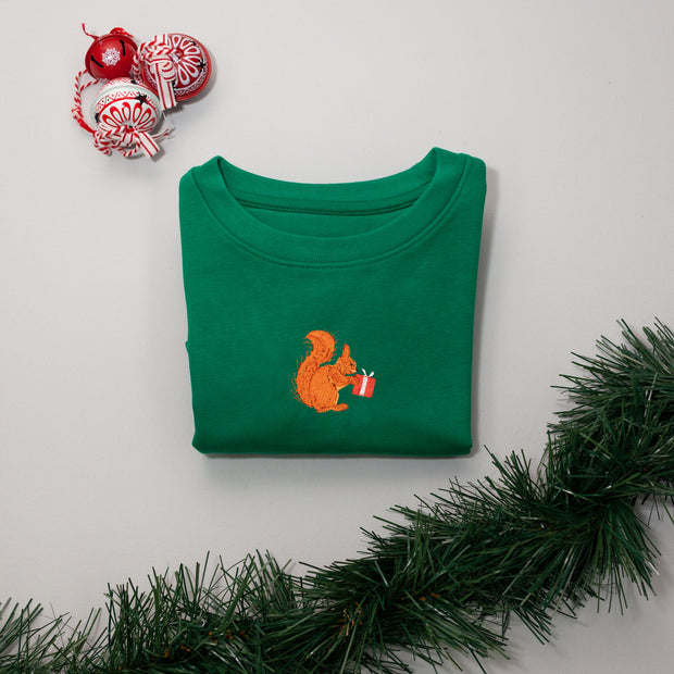 christmas red squirrel childrens sweatshirt
