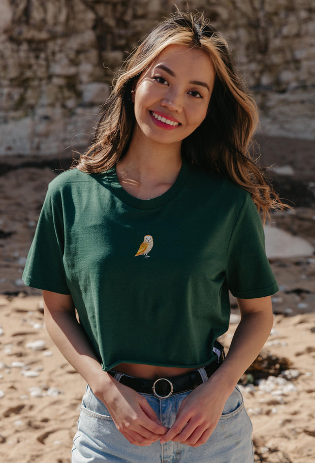 barn owl womens cropped t-shirt