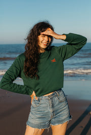 orangutan womens cropped sweatshirt