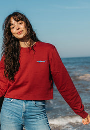 mako shark womens cropped sweatshirt