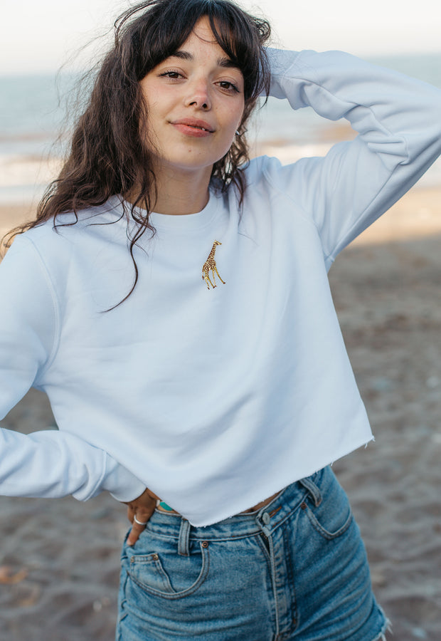 giraffe womens cropped sweatshirt