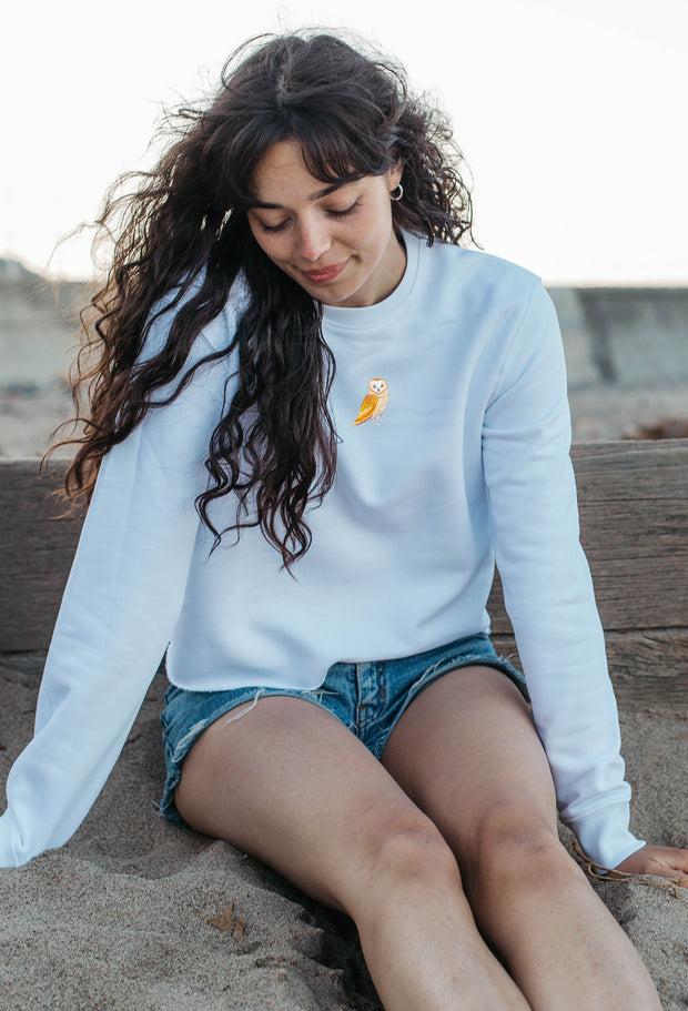 barn owl womens cropped sweatshirt