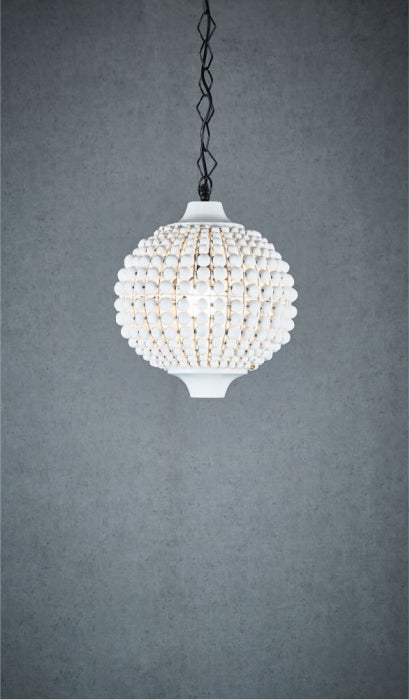 Kasbah White Beaded Pendant Light - Magins Lighting Pendant Usually dispatches within 2-3 days. Please contact us to confirm prior to placing your order. Magins Lighting
