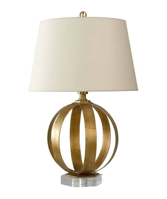VC Gilded Iron Metal Banded Table Lamp with Shade - Magins Lighting Table Lamps Bloomingdales Magins Lighting