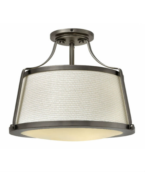 Charlotte Semi Flush Ceiling Light / Ant. Nickel - Magins Lighting Flush Mount Elstead Lighting Magins Lighting