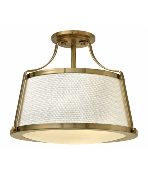 Charlotte Pendant Semi Flush | Brushed Caramel - Magins Lighting Flush Mount Elstead Lighting Magins Lighting