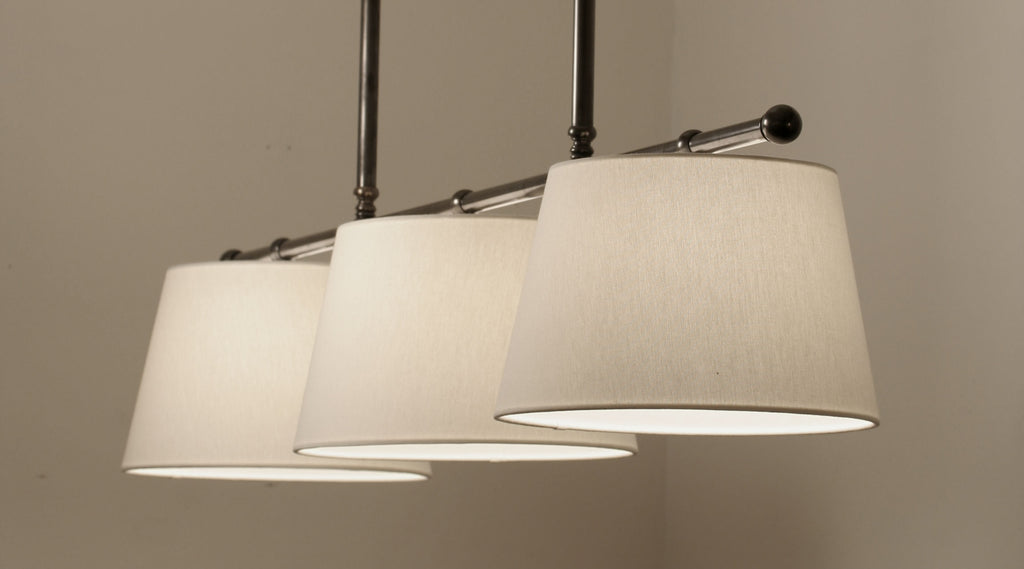 Gloucester 3 light pendant polished nickel with off white linen gloucester 3 light pendant polished nickel with off white linen shades aloadofball Gallery