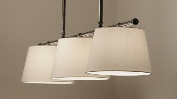 Gloucester 3 Light Pendant  | Polished Nickel with Off White Linen Shades - Magins Lighting Fabric Pendant Magins Design Magins Lighting