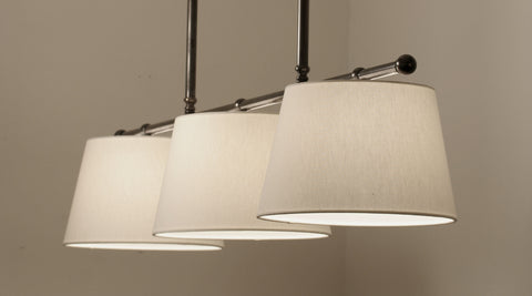 Gloucester 3 Light Pendant  | Polished Nickel with Off White Linen Shades