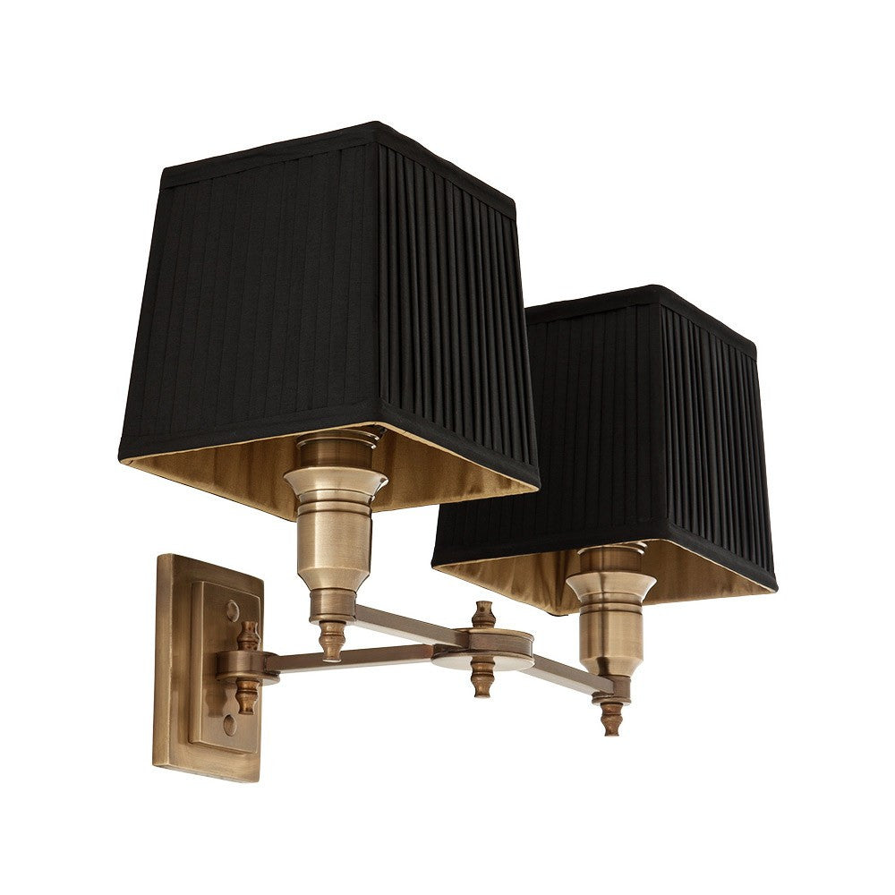 Lexington Double | Aged Brass | Black Shade - Magins Lighting Interior Wall Lamps Lead Time: 5 - 6 Weeks Magins Lighting