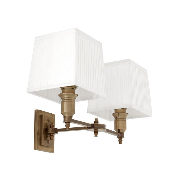 Lexington Double | Aged Brass | White Shade - Magins Lighting Interior Wall Lamps Lead Time: 5 - 6 Weeks Magins Lighting