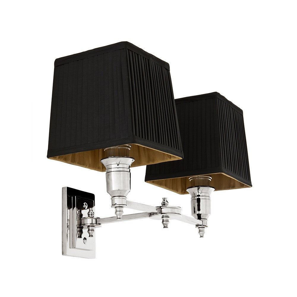 Lexington Double | Polished Nickel | Black Shade - Magins Lighting Interior Wall Lamps Lead Time: 5 - 6 Weeks Magins Lighting