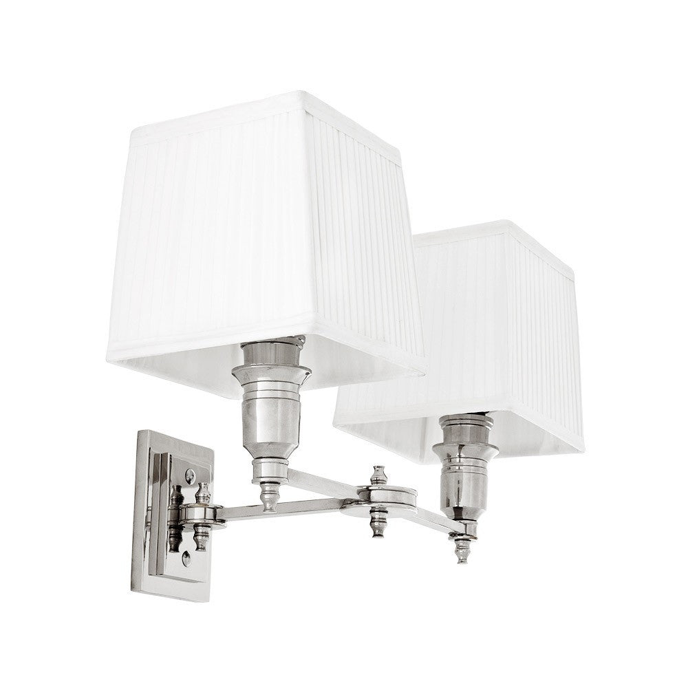Lexington Double | Polished Nickel | White Shade - Magins Lighting Interior Wall Lamps EM Lighting Magins Lighting