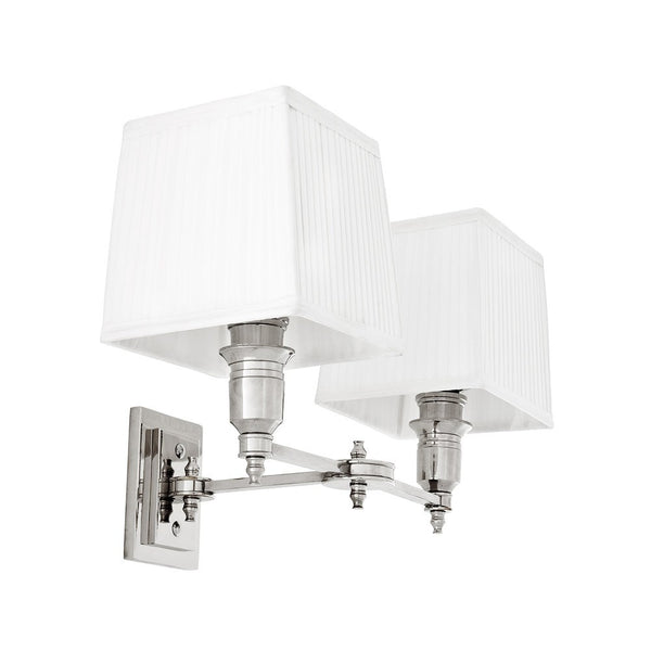 Lexington Double | Polished Nickel | White Shade - Magins Lighting Interior Wall Lamps Lead Time: 5 - 6 Weeks Magins Lighting