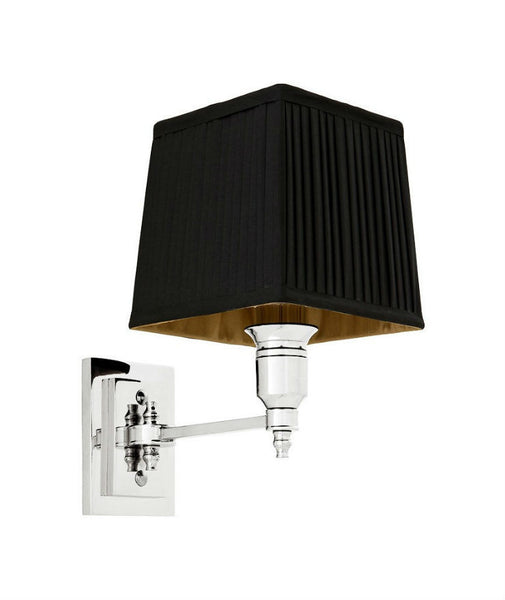 Lexington Single | Polished Nickel | Black Shade - Magins Lighting Interior Wall Lamps Lead Time: 5 - 6 Weeks Magins Lighting