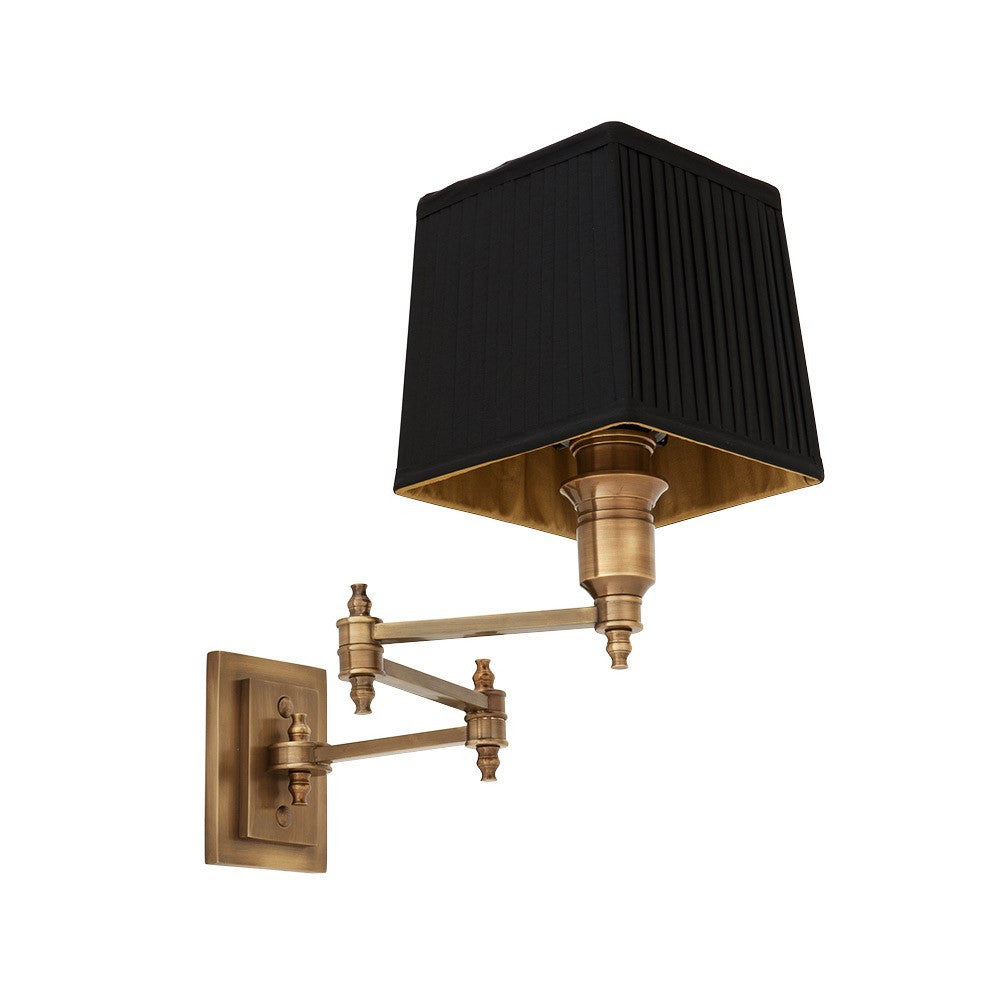 Lexington Swing Arm | Aged Brass | Black Shade - Magins Lighting Interior Wall Lamps Lead Time: 5 - 6 Weeks Magins Lighting