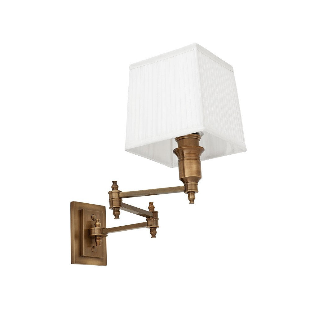 Lexington Swing Arm | Aged Brass | White Shade - Magins Lighting Interior Wall Lamps EM Lighting Magins Lighting