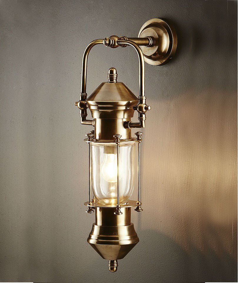 Lisbon Ships Lantern | Aged Brass - Magins Lighting Exterior Wall Lamps Usually dispatches within 2-3 days. Please contact us to confirm prior to placing your order. Magins Lighting