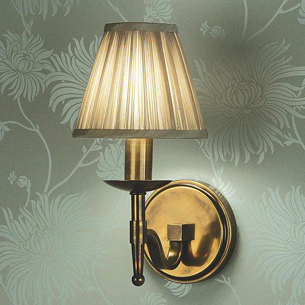 Stanford Single Wall Lamp / Oxodised Brass / Shimmer Grey Shade - Magins Lighting Wall Lamp Lead Time: 1 - 2 Weeks Magins Lighting