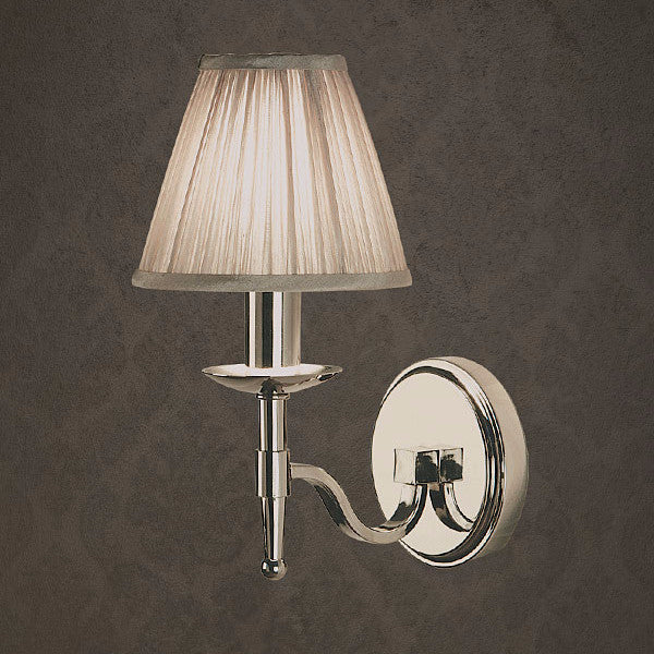 Stanford Single Wall Lamp / Polished Nickel / Shimmer Grey Shade - Magins Lighting Wall Lamp Lead Time: 1 - 2 Weeks Magins Lighting