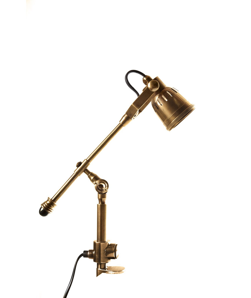 Seattle Clamp Lamp - Aged Brass - Magins Lighting Desk & Floor Lamps Usually dispatches within 2-3 days. Please contact us to confirm prior to placing your order. Magins Lighting
