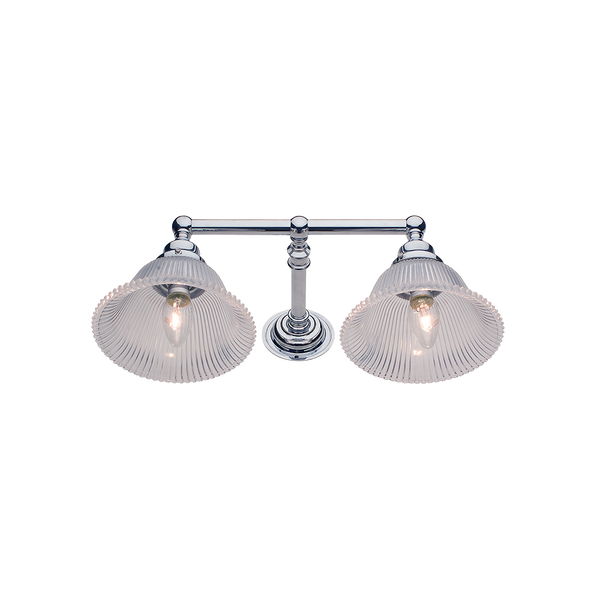 Hampton Wall Sconce | Double | Fluted Glass Shade