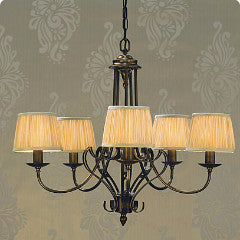 Zoya 5 Light Chandelier | Oxidised Brass - Magins Lighting Chandelier Lead Time: 1 - 2 Weeks Magins Lighting