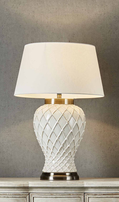 "Berkley table lamp w/ cream shd 18"" dia - Magins Lighting Table Lamps Usually dispatches within 2-3 days. Please contact us to confirm prior to placing your order. Magins Lighting"