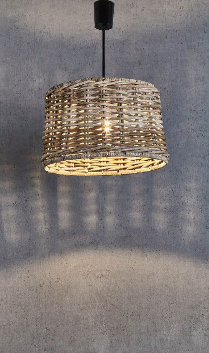 Wicker Round Pendant Light - Small